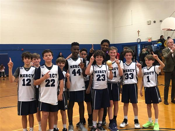 Mercy's 12U CYO Boys Basketball team took first place in the CYO Mid-Atlantic championship!  It was an exciting final game against St. Jane de Chantal but Mercy came away with the hard-fought win under the direction of Coach Wardell and Coach Meadows.